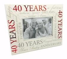 40th Ruby Wedding Anniversary Photo Frame Gift With Scripts Boxed 6 x 4 70081