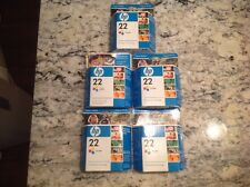 5 Pack New Genuine HP #22 C9352A C9352AN Color Ink Cartridges Expired Free Ship