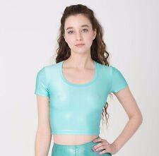 NWT Cali Sun and & Fun Shiny Crop Top Blue Short Sleeve American Apparel XS