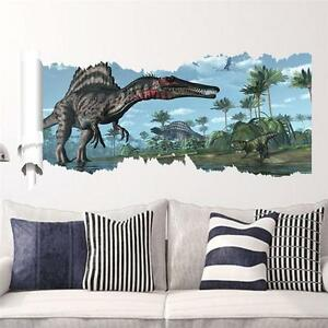 3D View Dinosaur Kids Room Decor Jurassic Park Wall Sticker Decal Mural PVC