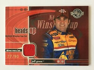 Jeff Green 2003 Wheels Heads Up NASCAR Race Used Hat Relic Card /90