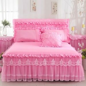 1 Piece Lace Bed Skirt +2pieces Pillowcase Bedding Bed For Cover King/Queen size
