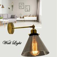 ON SALE!!Retro Industrial Cloche Smoke Glass Lamp Shade Edison Wall Light Sconce
