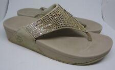 FITFLOP Sparkly Beige Flip Flop Fitness Slides Mules Toe Post Sandals 41 UK7 US9