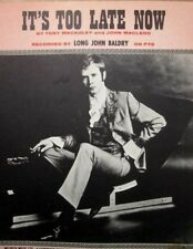 LONG JOHN BALDRY 1960's Original sheet music - ITS TOO LATE NOW