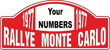 Racing Car Exterior Decal Nostalgic Monte Carlo Rally 1977 Own Number Motorsport