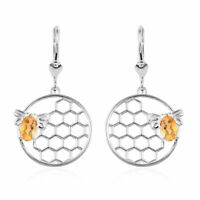 Drop Dangle Earrings 925 Silver Oval Citrine Valentines Gift for Women Ct 0.7