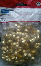 15mm x 100 BRASS OLIVE OLIVES RINGS - COMPRESSION RING PLUMBING GAS PIPE WATER
