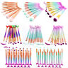 10PCS Kabuki Mermaid Makeup Brushes Set Foundation Powder Eyeshadow Lip Brush