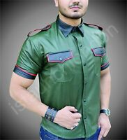 Mens Hot Genuine Real Sheep LEATHER Army Green Police Uniform Shirt BLUF Gay