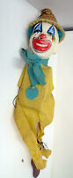 """Vintage Circus Clown Marionette Puppet w/ Straw Hat Wood Feet Cloth Outfit 14"""""""