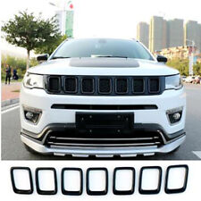 2017- 2018 For Jeep Compass ABS Chrome Front Grill Grille Cover Trim Black 7 PCS