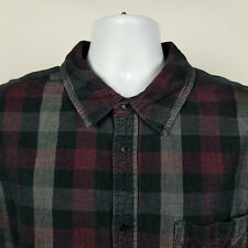 Carbon2Cobalt Mens Red Black Gray Check Corduroys Dress Button Shirt Size XL
