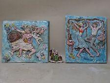 COPPIA MATTONELLE BACCO ceramica BASSORILIEVO VIETRI KOWALISKA DOLKER CAS PINTO
