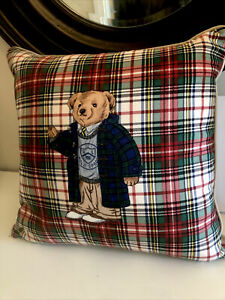 Ralph Lauren Teddy Bear Pillow Polo Plaid with Down insert Vintage