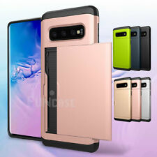 For Samsung Galaxy S10 Plus Wallet Card Holder Pocket Rugged Hard Case Cover