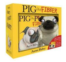 NEW Pig the Fibber Pug Aaron Blabey Book + Farting Plush Soft Toy Gift Boxed Set
