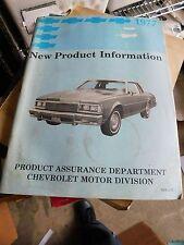 1977 CHEVROLET NEW PRODUCT TRAINING PROGRAM BOOKLET CAMARO NOVA IMPALA CORVETTE