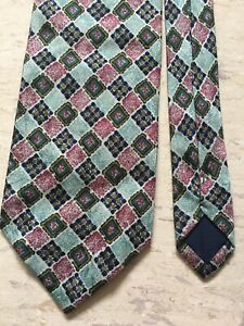 "Allea Milano 100% silk Made in Italy green geometric mix smart tie 3.6"" wide"