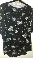 Primark Atmosphere navy blue black baby pink floral chiffon zip back blouse 14