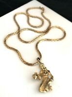 Vintage Estate Signed Monet Gold Tone Pendant Necklace Woman with Basket RARE 2v