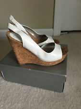 "Jessica Simpson ""Miles"" White Patent Cork Wedge Sandals Women's Size 7.5"