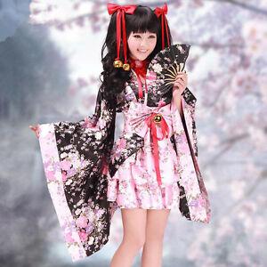 Vocaloid Cosplay Kostüm Kleid lolita Gothic Kimono Japan Maid sexy Sakura Pink