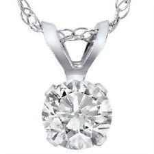 1 Carat Solitaire Pendant Enhanced Diamond 14K White Gold Womens Necklace
