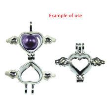10 Stke Weinlese Silber Legierung Herz Flügel Perlen Käfig Medaillon Anhänger