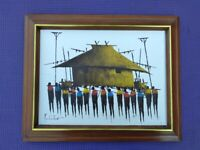 Pulido Sanchez Untitled Oil on Board Painting Signed and Framed No Glass