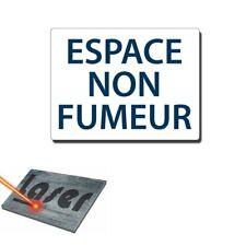 """Plaque gravée autocollante 20x15 cm """"Espace non fumeur"""" fond blanc"""