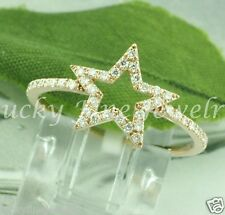 18k Solid Rose Gold Ladies Natural Diamond ring Trendy Star 0.34 ct  Superstar