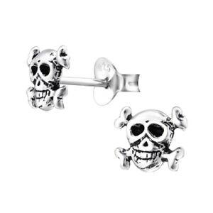925 Sterling silver skull stud earrings oxidized