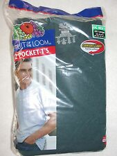 """2 Fruit of the Loom Men's Green Crew Neck Pocket T Shirts - Size 2XL (50""""-52"""")"""