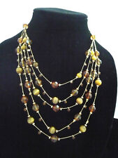 Lot 2 necklaces  5 strand amber beads & 2 strand red & gold beads bonus earrings