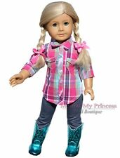 "PLAID SHIRT + LEGGINGS + TEAL Girl WESTERN BOOTS clothes for 18"" American Doll"