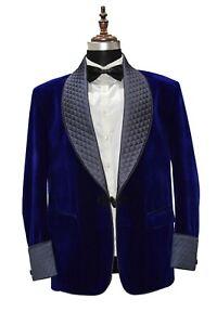 Men Royal Blue Smoking Jackets Designer Wedding Party Wear Blazers Coat UK