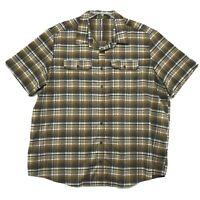 SwissTech Shirt Mens Size 2XL XXL Brown Plaid Short Sleeve Button Front Flaps