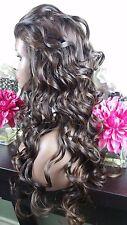 Beautiful Medium Brown/Light Auburn Lace Front Wig Long Curly Ht Sf