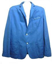 Hugo Boss Bright Blue Men's Cotton Linen Fancy Jacket Blazer Size 44R US NEW