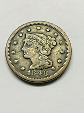 1848 Braided Hair Large Cent Vf #15733