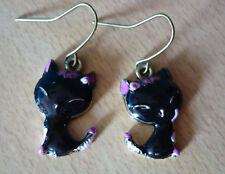 Zwarte oorbellen kat poes