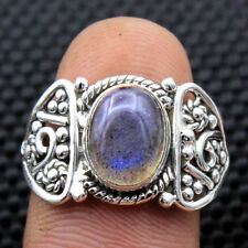 Christmas Gift Ring Natural Labradorite 925 Sterling Silver Unisex Size 7.5 US