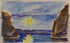 """"""" Sonnenuntergang am Meer """"Aquarell zuschreibung  K.A.Manetstötter"""
