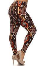 Womens Plus Brown Tribal Aztec Print Leggings One Size Fit 1X,2X Or Sz 14,16,18
