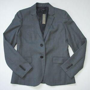 NWT J. Crew Nouvelle 1035 Jacket Heather Flannel Gray Super 120s Wool Blazer 8