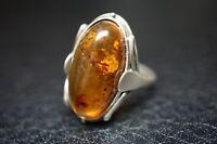 vintage Ring Bernstein Silber / a53