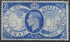 "Great Britain Stamp - Scott#276/A117 2 1/2 Bright Ultra ""George VI"" Canc/LH 1949"
