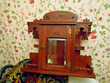 Antique Victorian Beveled Glass Curio Display Case Wall Shelf Cabinet~Exquisite~