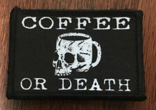Coffee or Death Morale Patch Tactical ARMY Funny Military USA Flag Badge Hook